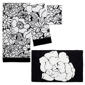4pc black white floral towel bath rug set