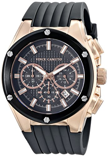 Vince Camuto VC/1063DGRG - Reloj unisex, correa de silicona color negro