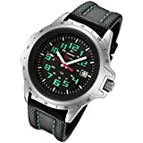 Military Watches Armourlite ColorBurst  Shatterproof Scratch Resistant Glass Green Tritium Watch 10 yr battery w/ Green Stitching on Black Leather Band AL203
