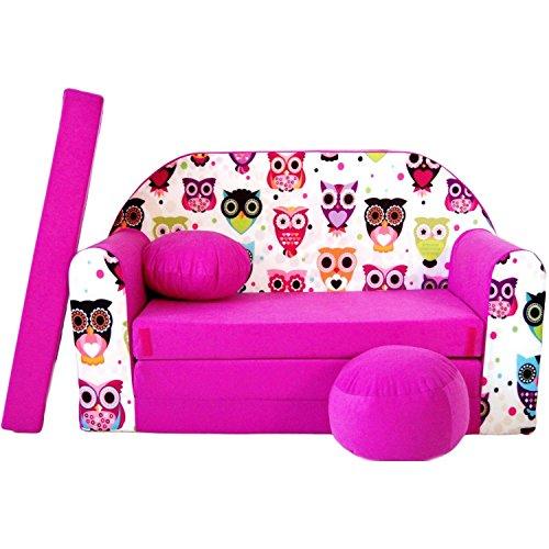 Kindersofa Bettfunktion 3in1 (Kindersessel, Ausziehbett, Eulen) H17, Pink