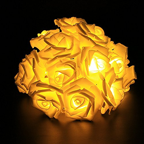 String Lights,Mulcolor 20 LED Battery Operated Rose Flower String Lights Fairy Lights for Valentine's,Wedding,Party,Indoor Decoration,Warm White