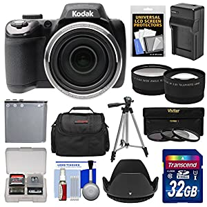 Kodak PixPro AZ525 Astro Zoom Wi-Fi Digital Camera with 32GB Card + Battery & Charger + Case + Tripod + Filters + Tele/Wide Lens Kit