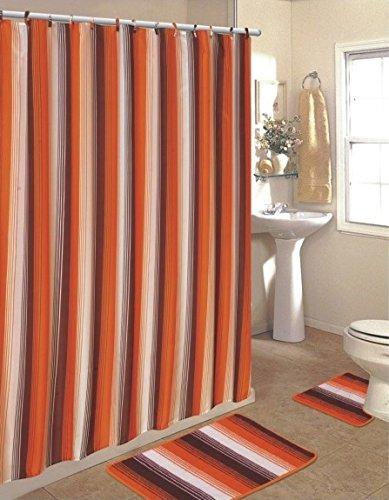 ElegantBath 15-Pc Stripe Shower Curtain Set w/ 3 Piece Bathroom Rug Set - Bath Mat, Contour, Toilet Cover and 12 Shower Curtain Hooks - (Orange)