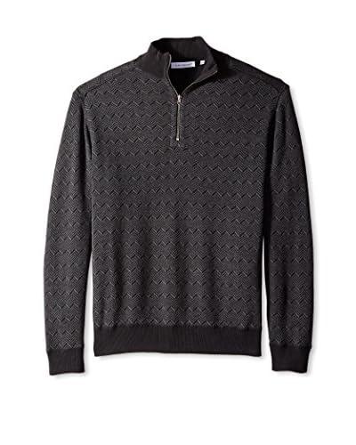 Alex Cannon Men's Reversible Herringbone/Solid 1/4 Zip Mock Neck Sweater