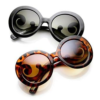 Designer Oversized High Fashion Sunglasses w/ Baroque Swirl Arms (Black & Tort (2-Pack))