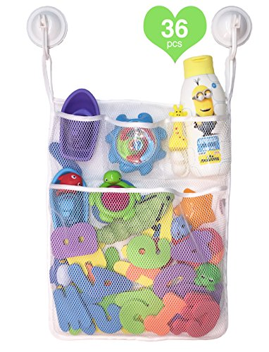 Bath Toy Organizer AND Foam Letters & Numbers 36 pcs - Saves Time & Mess - Drip Dry the Tub Toys in the Tub also Includes Awesome Sturdy Clips (Baby Bath Tub Foam compare prices)