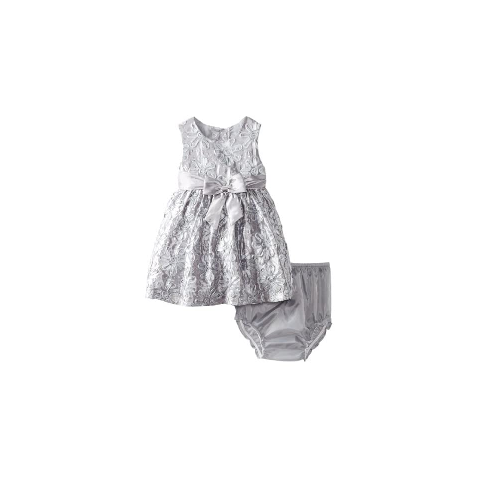 Rare Editions Baby Baby Girls Floral Soutach Dress