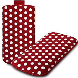 iGloo Polka Dot Print Pouch Case Cover Sleeve with Pull Tab for the Samsung i9190 Galaxy S4 mini Mobile Phone - Red / White
