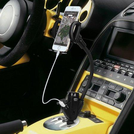 【 シガーソケット取付 充電機能付き 360度 フレキシブル 車載ホルダー 】 ahha 日本正規品 パワーホルダー 2口 USB カーチャージャー マウント 3.4, ステルス ブラック Power Holder 2 USB Car Charger Mount 3.4 for iPhone iPad Xperia Galaxy AQUOS Nexus LG Smartphone & Tablet, Stealth Black 【 設置調整自由自在 DC 12V / 24V 両対応 高出力 3.4A / 17W 】 A-CA00-0801
