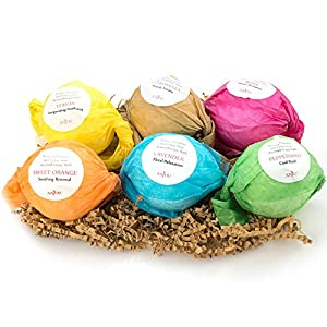 Bath Bombs Gift Set by Anjou, 6x3.5 Oz Lush Bath Bombs Kit, Best for Aromatherapy, Relaxation, Moisturizing with Organic & All Natural Essential Oils, Jojoba Oil, Shea Butter