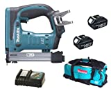 Makita 18V LXT BST221 BST221Z BST221Rfe Stapler, 2 X BL1830 Batteries, DC18RC Charger And DK18027 Bag