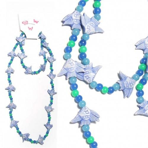 SG Paris Set Necklace+Bracelet Blue Bleu Combinaison Jewelry Set Jewelry Set Plastic Summer Kid Mini Zoo Fashion Jewelry / Hair Accessories Fish