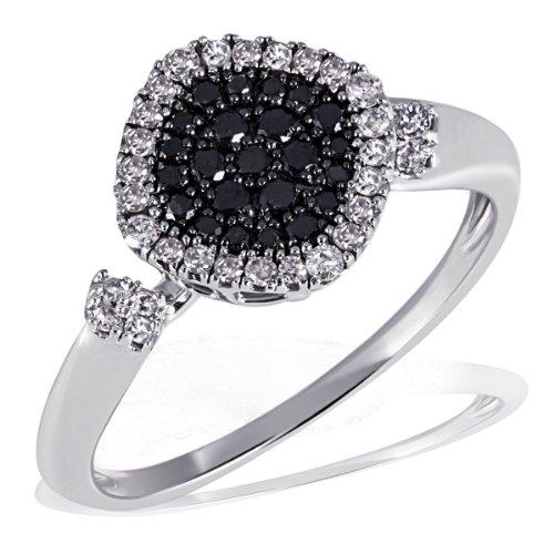 Goldmaid Damen-Ring 585 Weißgold 23 weisse 28 schwarze Diamanten Pavee Pa R4390WG
