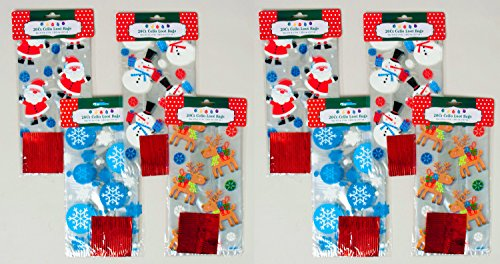 Set of 160 Christmas Cello/Cellophane/Loot Treat Bag w/Ties - 4 Assorted Holiday Designs (160)
