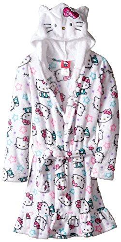 Hello Kitty Big Girls' Hooded Fleece Robe, White, Small