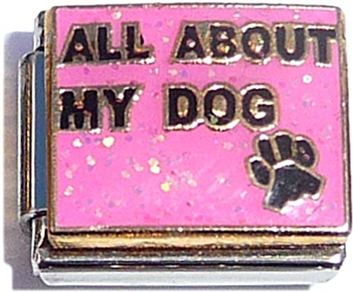 All About My Dog On Pink Italian Charm Bracelet Jewelry Link