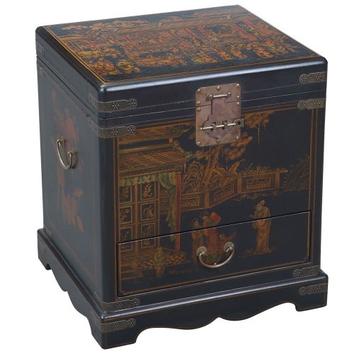 Cheap EXP Handmade Oriental Furniture – 23″ Antique Style Black Leather Heirloom End Table / Storage Chest (B001KWCLCW)