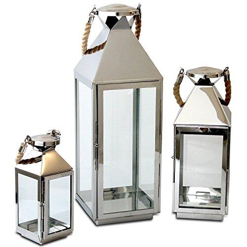 Edles-3tlg-Laternen-Set-H5554025cm-Edelstahl-mit-Griff-aus-geflochtenem-Seil-und-Glasfenstern-Laterne-Windlicht-Gartenlaterne-Kerzenhalter-Gartenbeleuchtung-Dekoration
