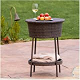 New Contemporary Alondra Multi-Brown Wicker Ice Bucket Outdoor Patio Furniture Poolside Outdoor Living