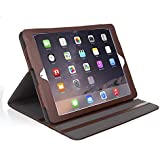 Bear Motion for iPad Air 2 - Genuine Leather Folio Case with Multiple Position Stand for Apple iPad Air 2 - Brown