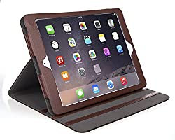 iPad Air Case - Bear Motion for iPad Air - 100% Genuine Leather Case for iPad Air Support Smart Cover Function - iPad Air (iPad Air 2, Brown)