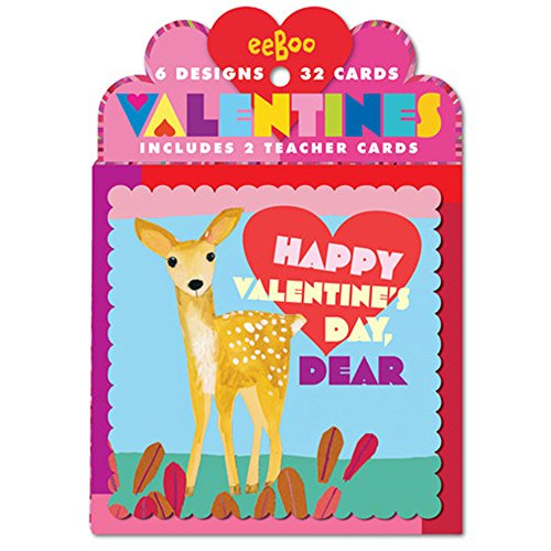 eeBoo Happy Valentine's Day Cards, Set of 32, in Life on Earth