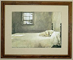 big oak framed andrew wyeth master bedroom dog on bed