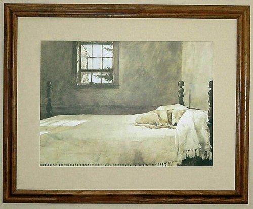 Big Oak Framed Andrew Wyeth Master Bedroom Dog On Bed ...