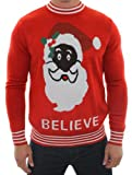 Ugly Christmas Sweater - Black Santa Sweater by Tipsy Elves (XL)