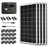 RENOGY® Solar Panel Starter Kit 400W Mono: Four 100W Mono Solar Panel UL 1703 Listed+One 30Amp PWM Charge Controller+Three Pair of MC4 Branch Connector+One Pair of 20Ft Adaptor Kit with Male and Female MC4 Connector+ Four Sets of Z Bracket Mounts