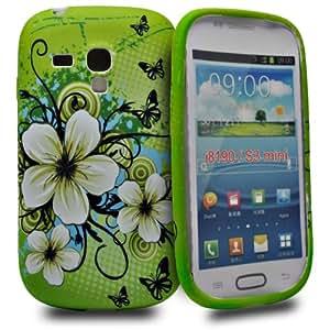 Accessory Master Etui en silicone pour Samsung Galaxy S III Mini Motif Vert fleur