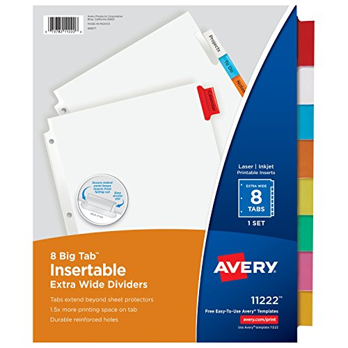 Avery Big Tab Insertable Extra Wide Dividers, 8 Multicolor Tabs, 1 Set (11222) (Avery Extra Wide Tabs compare prices)