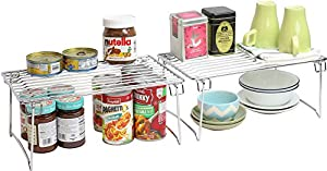 DecoBros Stackable Kitchen Cabinet Organizer, Chrome, Pack of 2