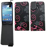 Samrick Floral Flowers Specially Designed Leather Flip Case, Screen Protector, Microfibre Cloth and Black High Capacitive Mini Stylus Pen for Samsung i9190 Galaxy S4 IV Mini and i9192 Galaxy S4 IV Mini Dual Sim - Black/Pink