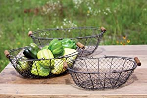 Antique Style Oval Wire Basket Set