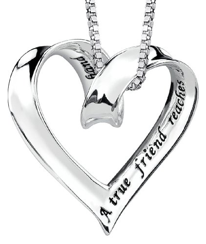"Sterling Silver ""A True Friend Reaches For Your Hand But Touches Your Heart"" Ribbon Heart Pendant, 18"""