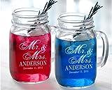 Custom-Engraved-Glasses-by-StockingFactory Mr Mrs Set of 2 Personalized Wedding Mason Jars Drinking Mugs with Handle.