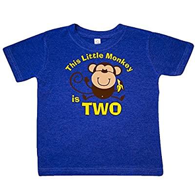 Inktastic Little Boys' Little Monkey 2nd Birthday Boy Toddler T-Shirt 4T Retro Heather Royal