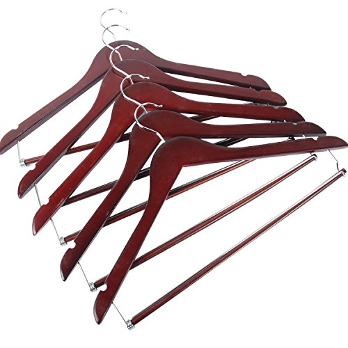 Clearance! LOHAS Home H12 Wood Suit Hanger with Locking Bar, Wooden Curved Contour Coat Hangers, Walnut Finished with Chrome Hooks, Pack of 5 (Suit Hanger With Locking Bar compare prices)