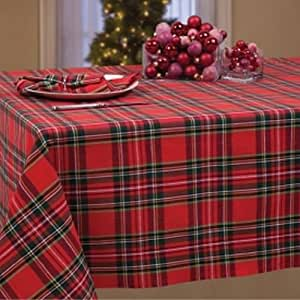 Pretty red green plaid fabric tablecloth for Table linens 52 x 70