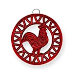 Old Dutch Two Tone Red Rooster Trivet, 8-Inch