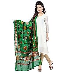 Banjara WomenS Cotton Stoles & Dupattas Kutchi Chakachak (Chk05 _Dark Green _Handicraft Dupatta_Free Size)