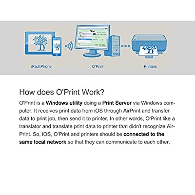 O'Print Software- AirPrint Activator on Winodws, Allow iPhone and iPad Print to All Types Printers and Copy Machine. Airprint Printers.Support iOS 4.22 above and don't require to install Apps