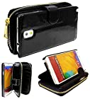 myLife Shimmering Black {Modern Design} Faux Leather (Card, Cash and ID Holder + Magnetic Closing) Slim Wallet for Galaxy Note 3 Smartphone by Samsung (External Textured Synthetic Leather with Magnetic Clip + Internal Secure Snap In Closure Hard Rubberized Bumper Holder)