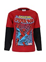 Marvel Camiseta Manga Larga Spiderman Battle (Rojo / Negro)