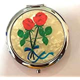 AUM-Folding Compact Hand Held Make-Up, Vanity Box, Hand Bag Mirror - Made Of Mother Of Pearl Lacquered Roses (...