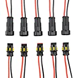 Leegoal 5 Kit 2 Pin Way Car Waterproof Electrical Connector Plug with Wire AWG Marine (Black with black and red cables)