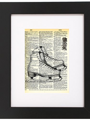 Dictionary Art Print Ice Skates Printed On Recycled