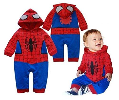 StylesILove Baby Boy Spider-man Hoodie Romper Costume (18-24 Months)