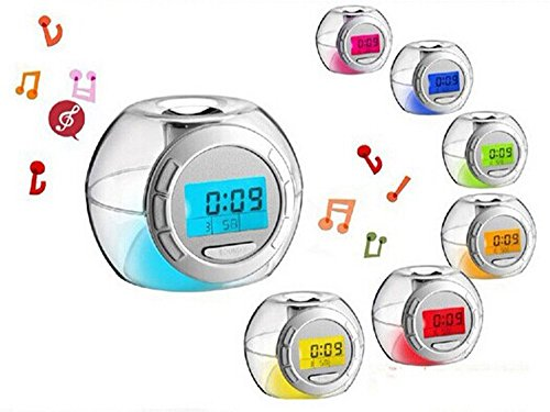 EkitMall Led seven color allochroism small music alarm clock personalized dawdler spherical alarm clock luminous music digital alarm clock